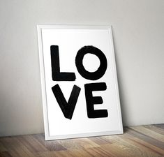 Love Message Black Bold letters decor Printable Wall art