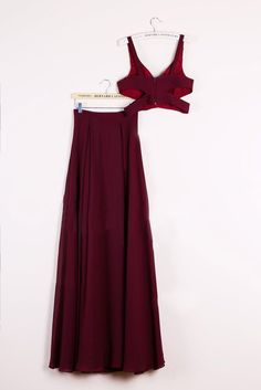Sexy Two Piece Prom Dresses, 2 Piece Homecoming Dresses, Burgundy Homecoming Gowns - Thumbnail 1