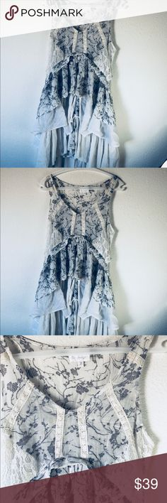 Boho gray sheer dress sz M floral lace Beautiful dress  Bought from a boutique   Size medium 4-6   Measurements   Length 35 inches  Pit to pit 18 flat   No flaws   Tired beautiful   Sadie and sage style Lulu's Dresses Midi