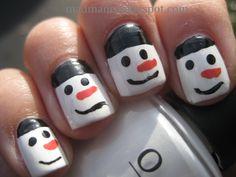 Simple Nail Art   MaD Manis: Simple snowman nailart