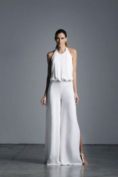 This Halter Jumpsuit Features a Wide Leg Fit. * Dry Clean Only * Made in USA * Model is Wearing Size Extra Small Halter Jumpsuit, White Jumpsuit, White Outfits, Mode Style, White Fashion, Fashion Outfits, Womens Fashion, Fashion Boutique, Ready To Wear