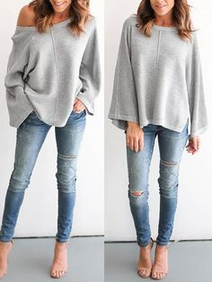 Winter Fashion Flare Sleeve Loose Knitted Sweater