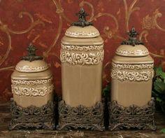 decorative canister set | drake design medium canister set this beautiful 3 pieces canister set ...
