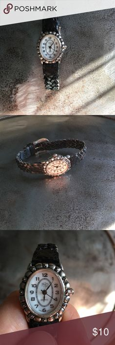 PHD watch Genuine leather Black braided band with oval face. Needs a battery PHD Accessories Watches