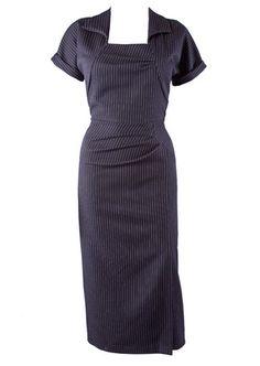 Film Noir 40s Wiggle Dress - pin stripe