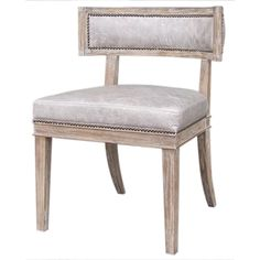 "Carter Dining Chair  Top Grain Leather  24"" W x 24"" D x 32"" H  Finish/Color(s): Light Grey/Whitewash"
