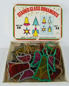 Vintage Plastic Stained Glass Christmas Ornaments Lot Of 10 With box Bell Tree