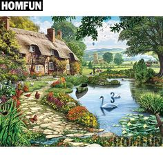 In the 1000 piece jigsaw puzzle, Lakeside Cottage by White Mountain, a brown English-style cottage located in a wonderful nature scene is illustrated. This puzzle is a great gift for a lover of quiet nature scenes! Pond Kits, Lakeside Cottage, Lake Cottage, Cozy Cottage, Lake Art, Cottage Art, Thomas Kinkade, Beautiful Paintings, Oeuvre D'art
