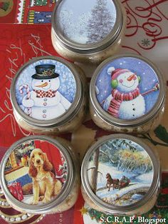 Old Christmas Cards Make New Gift Tags and Canning Jar Toppers - Scrapbook papers make this so easy!