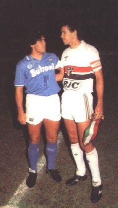 """Diego Armando Maradona (SSC Napoli, 1984–1991, 188 apps, 81 goals) with """"Careca"""" Antônio de Oliveira Filho (São Paulo FC, 1983–1987, 67 apps, 54 goals)."""