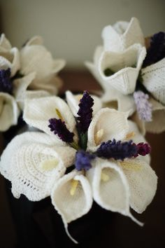 """Knitted wedding bouquets by Kniterly: """"My friends and I knitted my wedding flowers. I am beyond happy with how they turned out."""""""