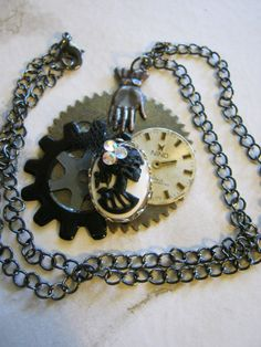 Steampunk Skull Gears Necklace by jansbeads on Etsy, $34.00