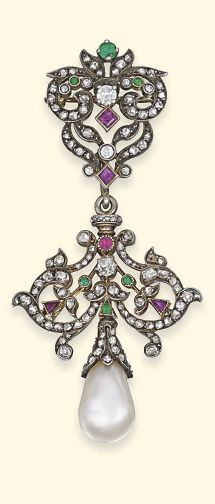 AN ANTIQUE PEARL AND MULTI-GEM PENDENT BROOCH The detachable pendant designed as a drop-shaped pearl with rose-cut diamond cap to the openwork ruby, diamond and emerald panel of foliate motif, to the similarly-set reverse and surmount, mounted in silver and gold, late 19th century, detachable pendant 4.0cm long, surmount 3.0cm long.