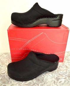 Sanita Karl Oiled Leather Professional Clogs 9-9.5/40 Black Waterproof Career #Sanita #OpenBackClogs #WeartoWork
