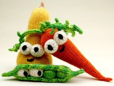 Dont Eat Your Veggies Amigurumi Knitting Pattern with Peas, Carrot, and Squash PDF Download via Etsy