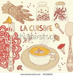 stock vector : mushrooms  soup