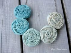 Ombre Rosette Necklace Light Blue Fabric by SweetCamiJayne on Etsy, $28.00