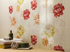 Gioia by Atlas Concorde Moroccan Tiles Kitchen, Kitchen Tiles, Concorde, Atlas, Florals, Curtains, Shower, Bathroom, Prints