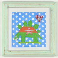 £17.50 Dotty about Dinosaurs Stegasaurus Nursery Art with Green frame #boyswallart