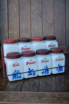 Vintage spice jars...I have over many, many salt and pepper shakers for the '50's...TJ