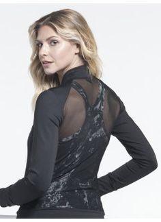 Zip Jacket With Mesh in Black