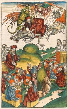 The death of Simon Magus, from the Nuremberg Chronicle, 1493