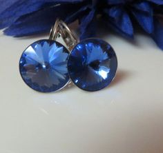 Valentines Days,  Sapphire Swarovsk,i Rivoli Crysta,l Hypoallergenic Stainless Steel, Leverback Earrings , Free US Shipping