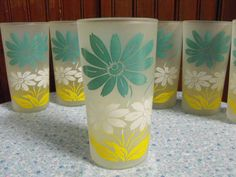 Vintage Frosted Tumblers Adorned With Turquoise by peacenluv72, $23.50