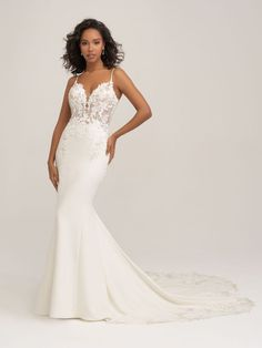 3450 by Allure Bridals combines beaded lace appliques with a lace deatiled train and a simple crepe skirt Crepe Wedding Dress, Sheath Wedding Gown, Classic Wedding Dress, Wedding Dress Sizes, Dream Wedding Dresses, Wedding Gowns, Elegant Wedding, Bridal Outfits, Bridal Dresses