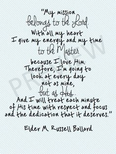 "Missionary Quote - M. Russell Ballard ""My Mission Belongs to Lord..."" Downloadable Printable Instant Download LDS Mormon JPG JPEG Etsy"