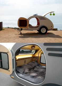 Best Teardrop Camper Designs For Adventure Travel - Such a cool interior in this off road teardrop trailer! The design leaves lots of room for camping - Teardrop Trailer For Sale, Teardrop Trailer Interior, Teardrop Camping, Teardrop Camper Trailer, Trailer Diy, Trailer Awning, Trailer Storage, Airstream Interior, Small Camper Trailers