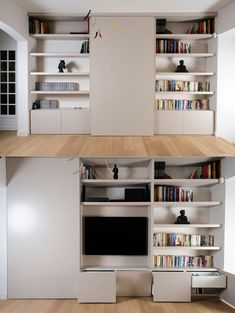 27 ideas ingeniosas para esconder el TV Living Room Shelves, Living Room Tv, Home And Living, Tv Wall Design, House Design, Room Interior, Interior Design Living Room, Tv Escondida, Tv Bookcase