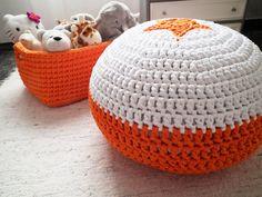 Orange Crochet Pouf Crochet Floor Cushions by LoopingHome