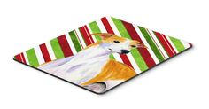 Whippet Candy Cane Holiday Christmas Mouse Pad, Hot Pad or Trivet