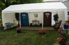 Porta Potty lounge with hand wash station for outdoor wedding