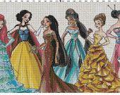 Small Size Disney Designer Princess Dolls Cross Stitch Pattern PDF (Pattern Only)
