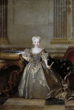 Portrait of the Mariana Victoria of Spain, Infanta of Spain and future Queen of Portugal; eldest daughter of Philip V of Spain and his second wife Elisabeth of Parma by Nicolas de Largillière Bourbon, Dom Manuel, Philippe V, Ludwig Xiv, European Costumes, Spanish Royalty, French Royalty, 18th Century Fashion, Woman Painting