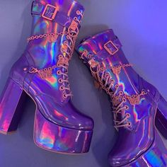 Online Boutique for the Misfits & Miss Legits Fancy Shoes, Pretty Shoes, Crazy Shoes, Me Too Shoes, Goth Shoes, Shoes Heels, High Heels, Holographic Boots, Alternative Shoes