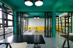 Black steel frame windows, color block paint