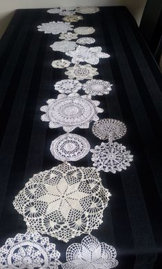 crocheted doily table runner. Crochet Doilies, Table Runners, Rugs, Home Decor, Crocheting, Farmhouse Rugs, Decoration Home, Room Decor, Home Interior Design
