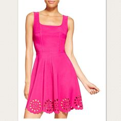 Laser Cut Out Fit And Flare Skater Dress
