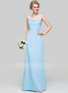 [US$ 99.99] A-Line/Princess Cowl Neck Floor-Length Chiffon Bridesmaid Dress With Ruffle (007090197)