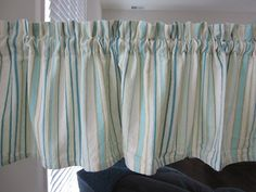 Curtain Valance Turquoise Striped Cotton Curtain by TheCottageWay