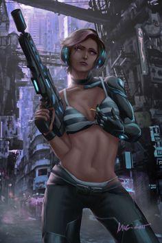 Cyberpunk Pepper by themimig on DeviantArt Cyberpunk 2077, Cyberpunk Kunst, Cyberpunk Girl, Sci Fi Fantasy, Fantasy Girl, Dark Fantasy, Futuristic Art, Sci Fi Characters, Shadowrun