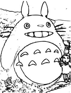 Totoro with umbrella coloring page for My neighbor totoro coloring pages