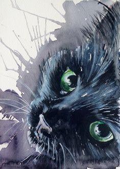Black cat by kovacsannabrigitta.deviantart.com on @deviantART   WATERCOLOR