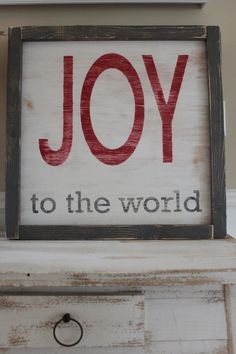 JOY To The World Vintage Christmas Inspired Distressed Framed Wood Wall Art/Sign