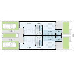 Conjunto de dos dúplex de 89,2m2 en terreno de 8,40 de frente con cocheras individuales. Cada dúplex está compuesto por …