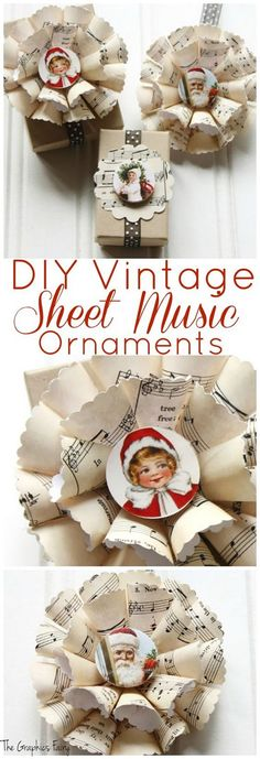 Sheet Music Christmas Ornaments - DIYDIY vintage sheet music ornaments - the graphic fairySheet Music Christmas Tree Ornaments - DIY DIY Vintage Sheet Music Christmas Tree Ornaments - The Graphics Fairy Sheet Music Ornaments, Music Christmas Ornaments, Sheet Music Crafts, Vintage Christmas Crafts, Homemade Christmas Decorations, Paper Ornaments, Vintage Ornaments, Xmas Crafts, Diy Christmas Ornaments