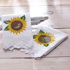 Hand-Painted Sunflower Tea Towels in Fall 2012 from Uno Alla Volta on shop.CatalogSpree.com, my personal digital mall.